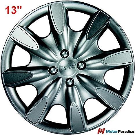 Tapacubos (13 pulgadas - 8 ramas | gris plata (T14) - ABS alta calidad: Amazon.es: Coche y moto