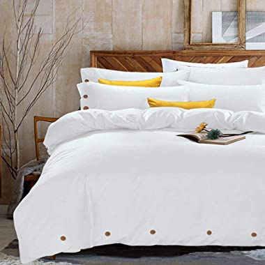 King Duvet Cover Set, 3 piece - 1200-Thread-Count Hotel Luxury Hypoallergenic Microfiber Down Comforter Quilt Bedding Cover with Deco Buttons, Zipper, Ties - Best Modern Style for Men and Women, White