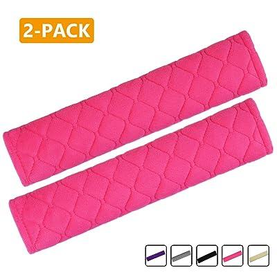 MIRKOO Car Seat Belt Cover Pad, 2-Pack Soft Car Safety Seat Belt Strap Shoulder Pad for Adults and Children, Suitable for Car Seat Belt, Backpack, Shoulder Bag, Laptop Computer Bag (Pink): Automotive
