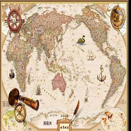Buy HITSAN INCORPORATION Vintage Chinese and English World Map ...