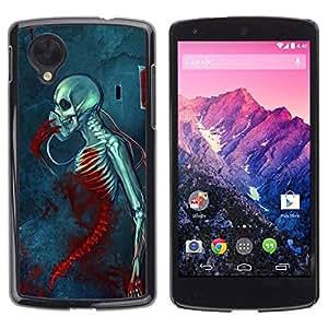 rígido protector delgado Shell Prima Delgada Casa Carcasa Funda Case Bandera Cover Armor para LG Google Nexus 5 D820 D821 /Blood Death Grim Blue Skull Skeleton/ STRONG