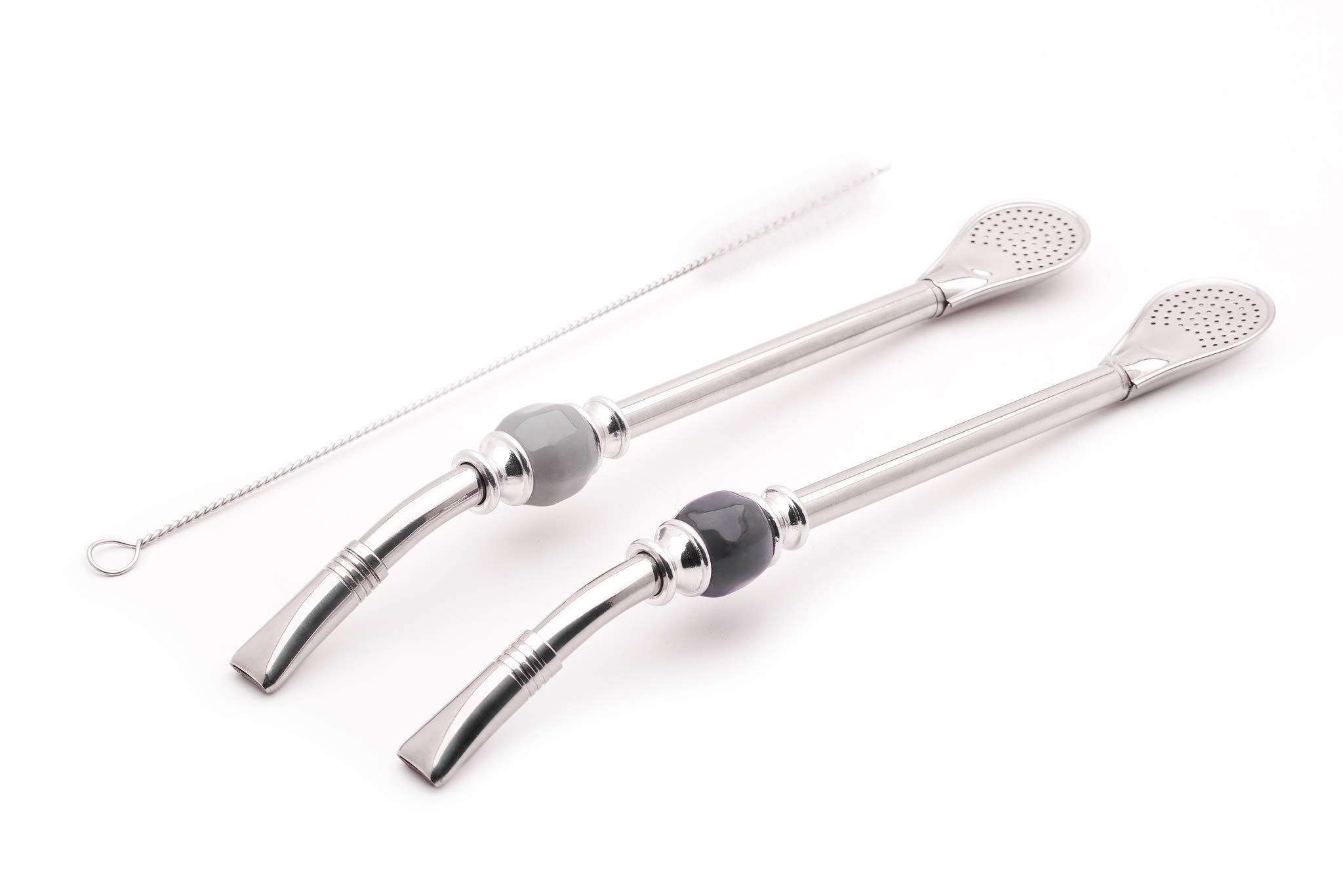 Balibetov [NEW] Set of 2 Premium big Yerba Mate stainless steel straws - Bombillas for mate gourd drinking, with removable head filter - Cleaning Brush Included - 8.5'' long (22 cm) GRAY-BLACK by BALIBETOV