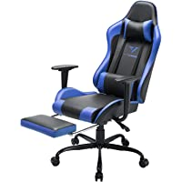 Vitesse Gaming Chair Office Computer Desk Chair with Footrest and Headrest Racing Game Ergonomic Design High-Back E-Sports Chair PU Leather Swivel Chair  (Blue)