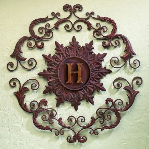 """33"""" Round Personalized Monogrammed Iron Metal Fleur De Lis Hanging Wall Grille"""