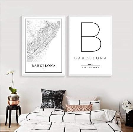 Póster de mapa de Barcelona con diseño de mapa de España de la ciudad, 50 x 70 cm, sin marco: Amazon.es: Hogar