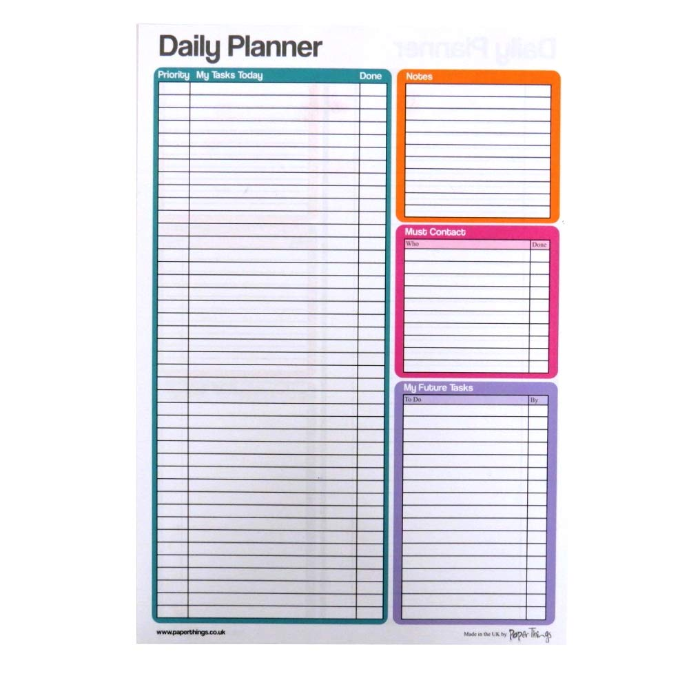 picture relating to Large Daily Planner titled : A4 Higher Day by day Planner Notepad - Double Sided