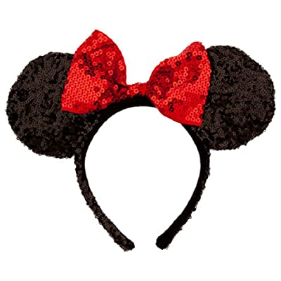 Disney Theme Parks Minnie Mouse Sequin Headband Red Black Mouse Ears: Clothing