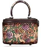PIJUSHI Designer Handmade Vintage Floral Travel Women's Makeup Top handle Handbags P236506-03DD (One Size, Brown)