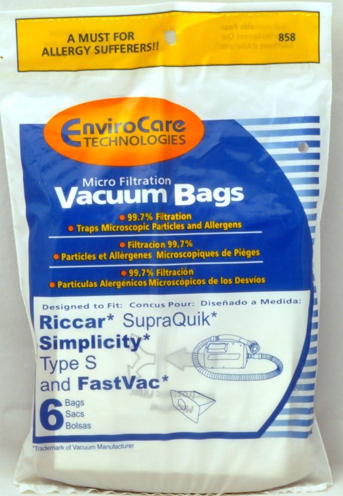 Riccar, Simplicity, FastVac, SupraQuik Bags