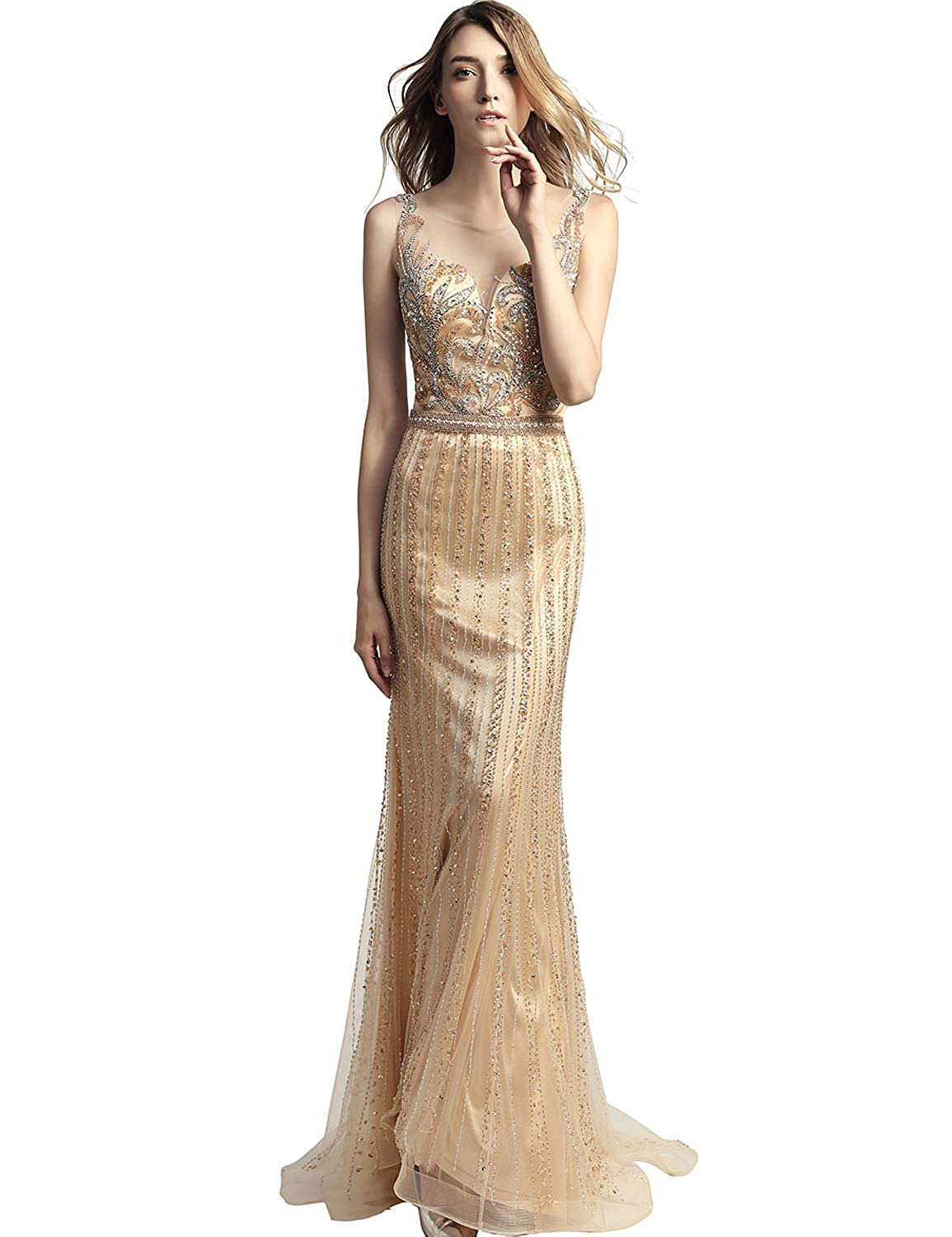 468champagne Sarahbridal Women's Tulle HiLow Beading Prom Dresses Evening Homecoming Cocktail Gowns