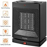 Portable Space Heater, PLEMO Electric Ceramic Heater 750 W/1500 W Oscillating Fan Heater with Adjustable Thermostat, Overheating & Tip-Over Protection, Carrying Handle for Desk Floor Home Office Use