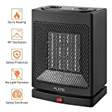 Portable Space Heater, PLEMO Electric Oscillating Mini Ceramic Heater with Adjustable Thermostat, 750 W/1500 W, Overheating & Tip-Over Protection, Carrying Handle for Desk Floor Home Office Use