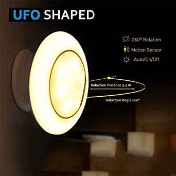 Motion Sensor Night Light, UFO LED Infrared Human Body Induction Lamp 360  Degree Rotation Intelligent