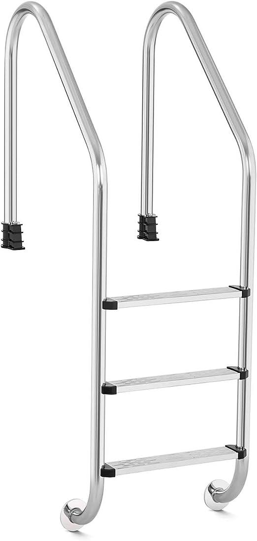 Uniprodo Escalera para Piscina Escalerilla Uni_Ladder_V01 (Máx. 150 kg, Ancho de peldaño: 49,5 cm, Número de peldaños: 3, Acero Inoxidable y plástico): Amazon.es: Jardín