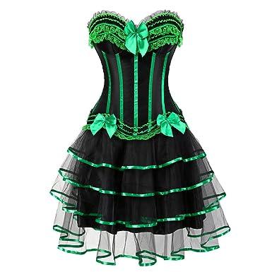 044b07f761c26 frawirshau Corset Dress Gothic Halloween Vintage Corset Moulin Rouge  Showgirl Clubwear Black Green S