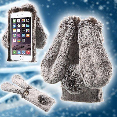 Soft Warm Rabbit Furry Fur TPU Back Tasche Hüllen Schutzhülle Case für iPhone 6s 6 4.7 - braun