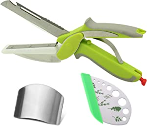 6 in 1 Clever Cutter Kitchen Scissors - Multipurpose Kitchen Food Chopper with Built-In Cutting Board - Come with Herb Stripper and Finger Guard for Cutting