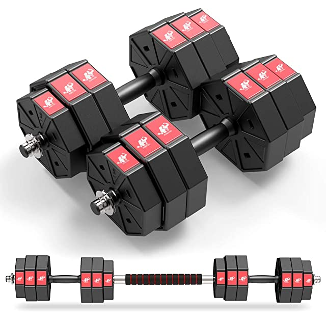 PITHAGE Barbell Set Adjustable Weights Lifting 45 LBS Fitness Exercise Home Gym