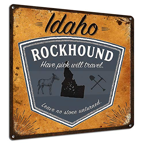 Idaho Rocks - Idaho Rockhound, 12x12 Inch Metal Rockhounding Sign, Wall Decor for Rock Collecting Enthusiasts, Gifts for Mom, Dad, Kids, Great for Rock and Lapidary Shops, Garage, Office, RK3118 ID 12x12