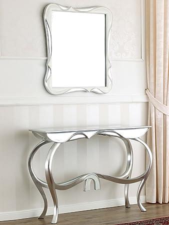 Consolle con specchio stile Contemporaneo Moderno foglia argento ...