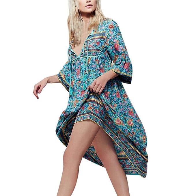 Vestidos De Verano Bohemios Mujer Largos LHWY, Vestidos Casuales De Playa Con Mangas Cortas Vestidos