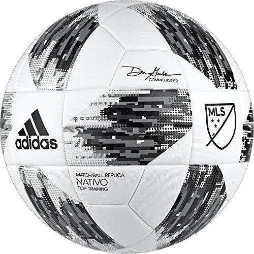 adidas Performance 2018 MLS Top Training NFHS Ball, White/Black/Grey, Size 5 (Mls Ball)