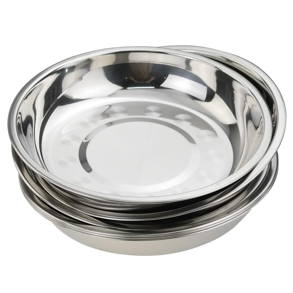Nicesh 7.64 Inch Stainless Steel Round Plate, Dinner Plate Dish, Pack of 6 by Nicesh