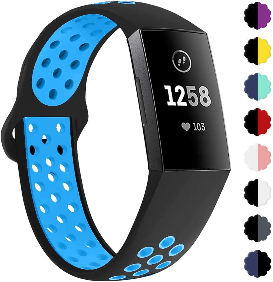Sports Silicone Replacement Women Men Bands Breathable Soft Strap Bracelet Accessories Compatible Charge 3 SE Fitness Activity Tracker Small Large QIBOX Compatible with Charge 3 Bands