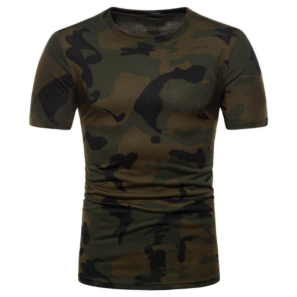MOIKA Herren T Shirt New Herren Casual Camouflage Print O Hals Pullover Kurzarm T-Shirt Top Bluse