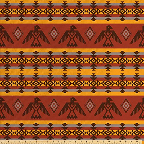 Ambesonne Native American Decor Fabric by the Yard, Ethnic Seamless Pattern on Indigenous Tribal Style Art Eagles and Traditional Elements, Decorative Fabric for Upholstery and Home (Traditional Eagle)