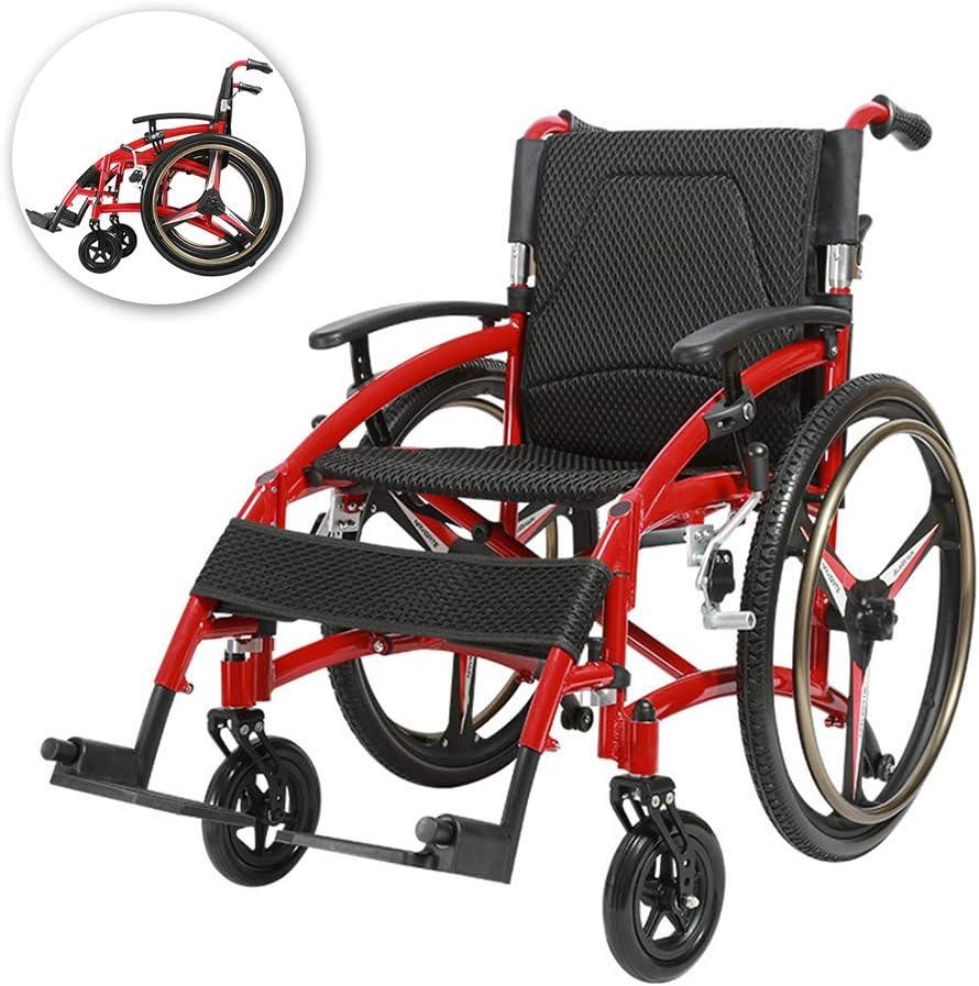 FZXXZF Aluminio Autopropulsada Silla De Ruedas, Plegable Dispositivo De Movilidad Ligera En Usuarios De Edad Avanzada, Discapacitados, Y Personas con Discapacidad, Silla De Ruedas Portátil