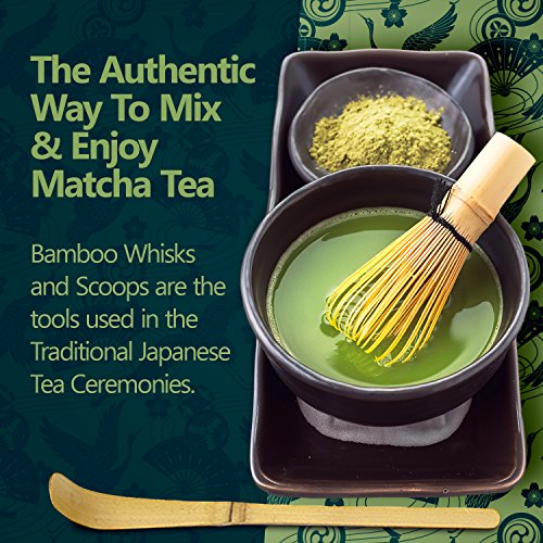 Bamboo Whisk (Chasen) and Hooked Bamboo Scoop (Chashaku) - Matcha Tea Whisk for Matcha Tea Preparation - MatchaDNA Brand - Traditional Matcha Whisk Made from Durable and Sustainable Golden Bamboo by MatchaDNA (Image #2)