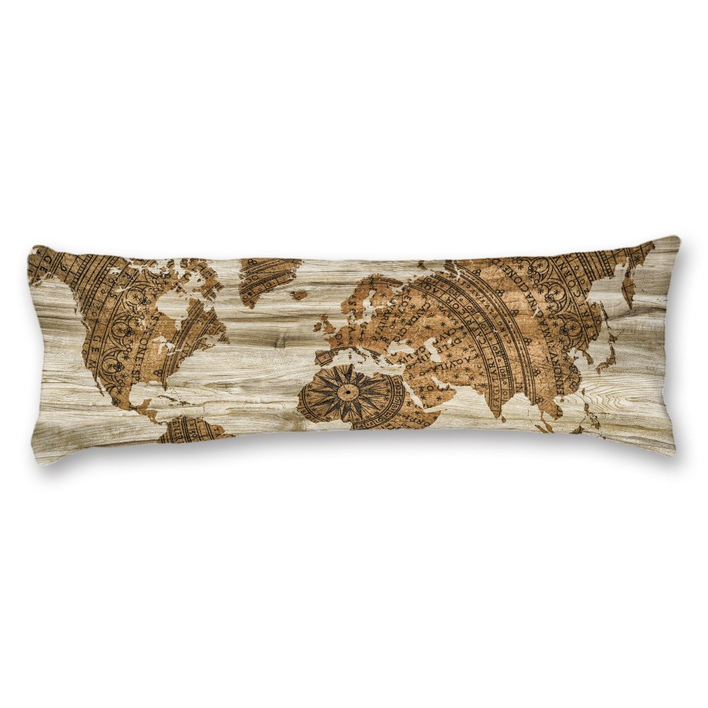 Yilooom Cotton Polyester Body Pillow Covers Long Body Pillow Cases Vintage World Map Barn Wood Pillow Protector Cushion Cover with Double Side 20x55 Inches