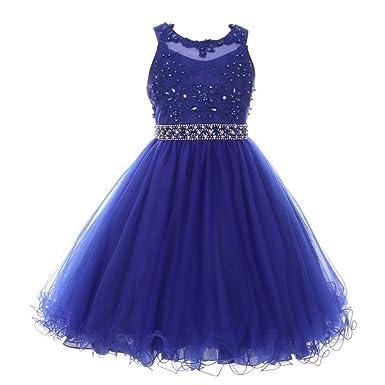 6ca420164 Cinderella Couture Big Girls Royal Blue Rhinestone Pearl Beaded Mesh Junior  Bridesmaid Dress 8