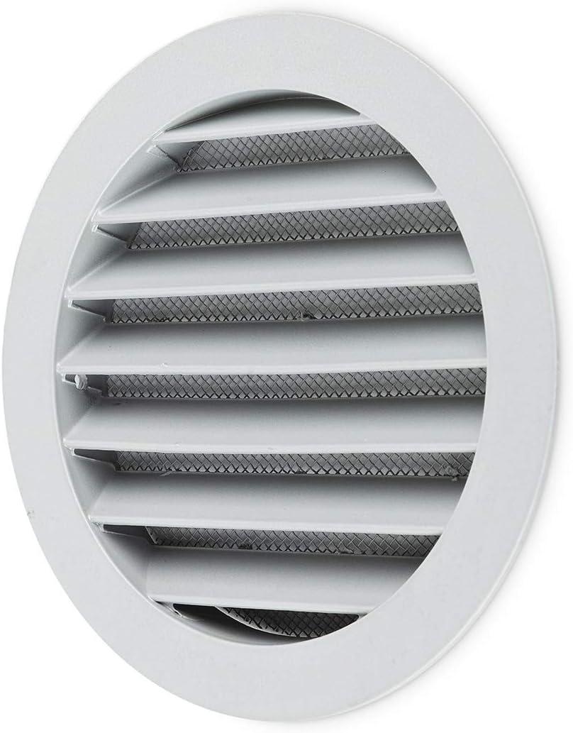 Grille da/ération ronde en aluminium de 125 mm de diam/ètre Avec moustiquaire.