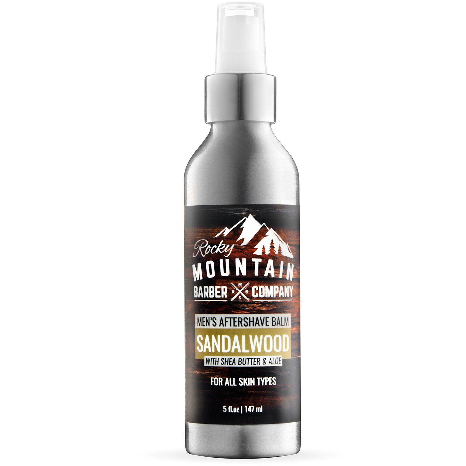 Aftershave Balm For Men - Canadian Made With Sandalwood Essential Oil - 5 Ounce - Moisturizer Face Cream by Rocky Mountain Barber Company