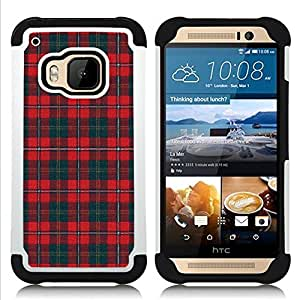 - teal red pattern Scottish lines/ H??brido 3in1 Deluxe Impreso duro Soft Alto Impacto caja de la armadura Defender - SHIMIN CAO - For HTC ONE M9