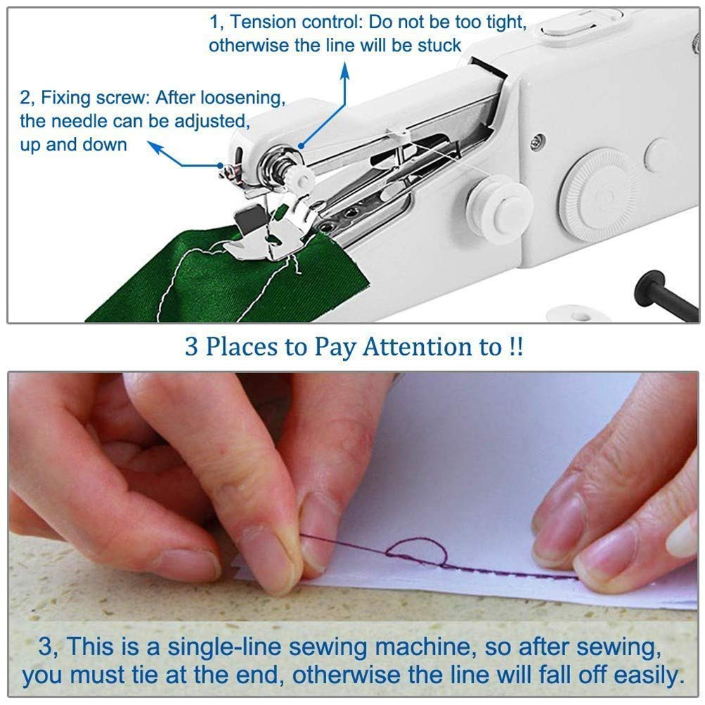 Home Travel Use Clothing Mini Handheld Sewing Machine with Soft Tape Measure,Stitch Machine Portable Fabric Curtains Cordless Electric Stitch Household Tool for Fabric Battery Not Included