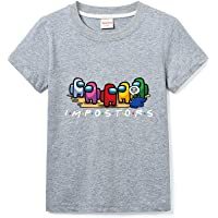 Among Us Camiseta De Color Sólido con Cuello Redondo para Niños, Manga Corta con Estampado De Niña