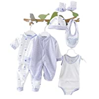 Smgslib 8pcs Newborn Baby Clothes Unisex Infant Outfits Layette Set with Stripe Dot