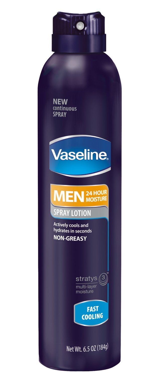 (2 Pack) Vaseline Mens 24 Hour Hydration Spray On Lotion, Fast Cooling, 6.5 Ounces each