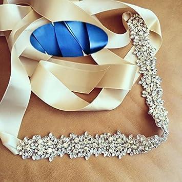 QueenDream - Cinturón para novia, color azul marino, con perlas y diamantes de imitación