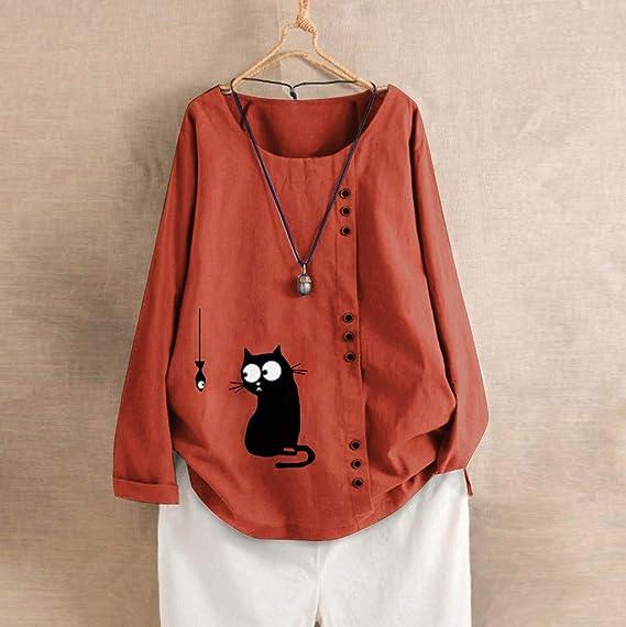TUDUZ Camisas Mujer Manga Larga Blusas Impresi/ón Tops Cuello Redondo Camisetas