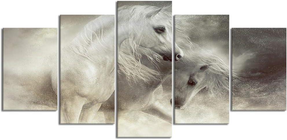 YOUMEISU Cuadro en Lienzo,5 Partes Pintura al óleo caballo árabe tormenta de arena desierto caballo blanco caballo gris hermoso horse de Arte de Pared Decoración del Hogar para el Cartel Modular