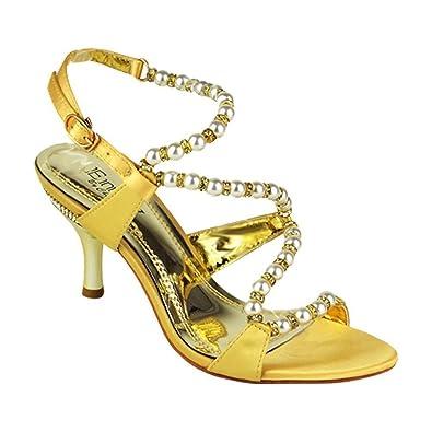 b9c0771bbf0 Ladies   Women s strappy Cross Strap Design diamante mid heeled sandal  Shoes (UK 3