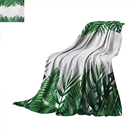 f094faac3a5c5 Amazon.com: Palm Leaf Throw Blanket Framework with Rainforest ...