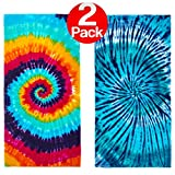KAUFMAN – Tie-Dye Velour Beach & Pool Towel Set – 30in x 60in