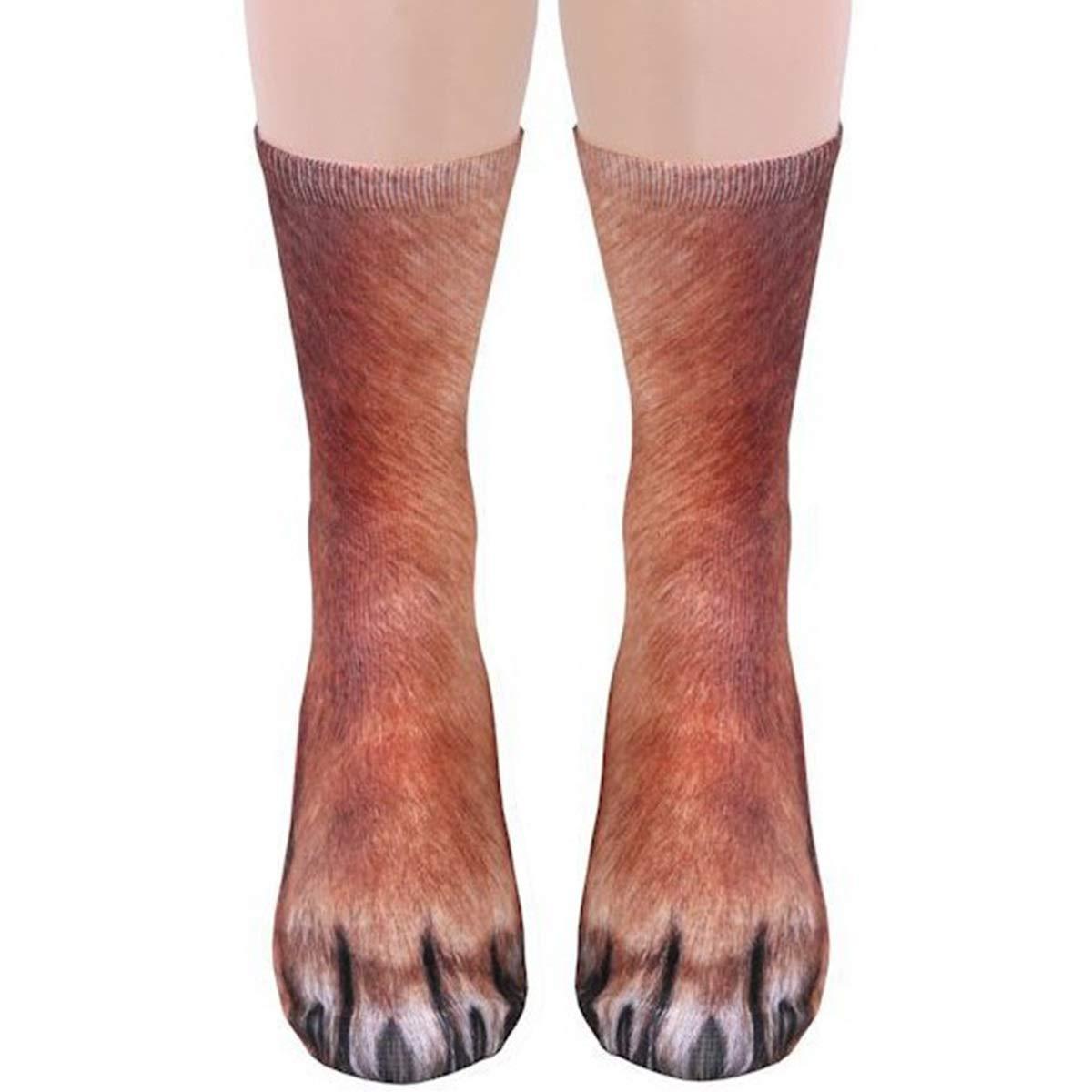 Color : Horse 3D Print Animal Foot Hoof Paw Feet Crew Socks Adult Digital Simulation Socks Unisex Tiger Dog Cat Sock