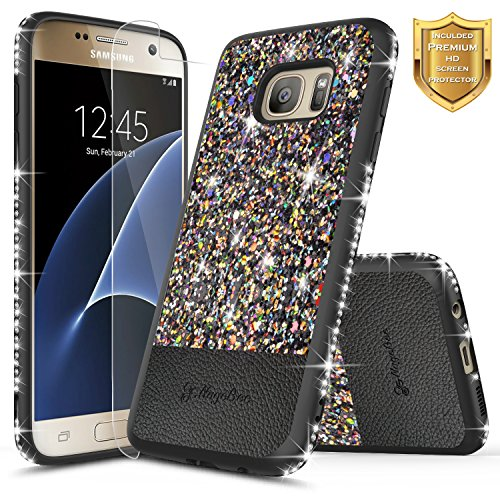 Galaxy S7 Case with [Screen Protector HD Clear], NageBee Shiny Diamond Glitter Bling Crystal Super Slim Protective Soft TPU Leather Hybrid Case for Samsung Galaxy S7 G930 (Black) (Leather Super Slim)