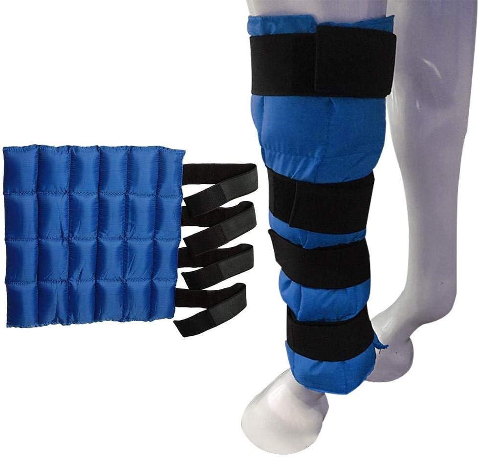 Jannyshop Bota de Hielo para Caballos Enfriar Alivia el Dolor con 24 Paquetes Pequeños de Hielo(Azul)